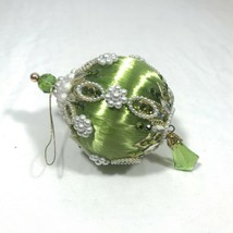 Vintage 60s/70s Satin Light Green Pearl Beaded Sequins Christmas Ornamen... - $27.55