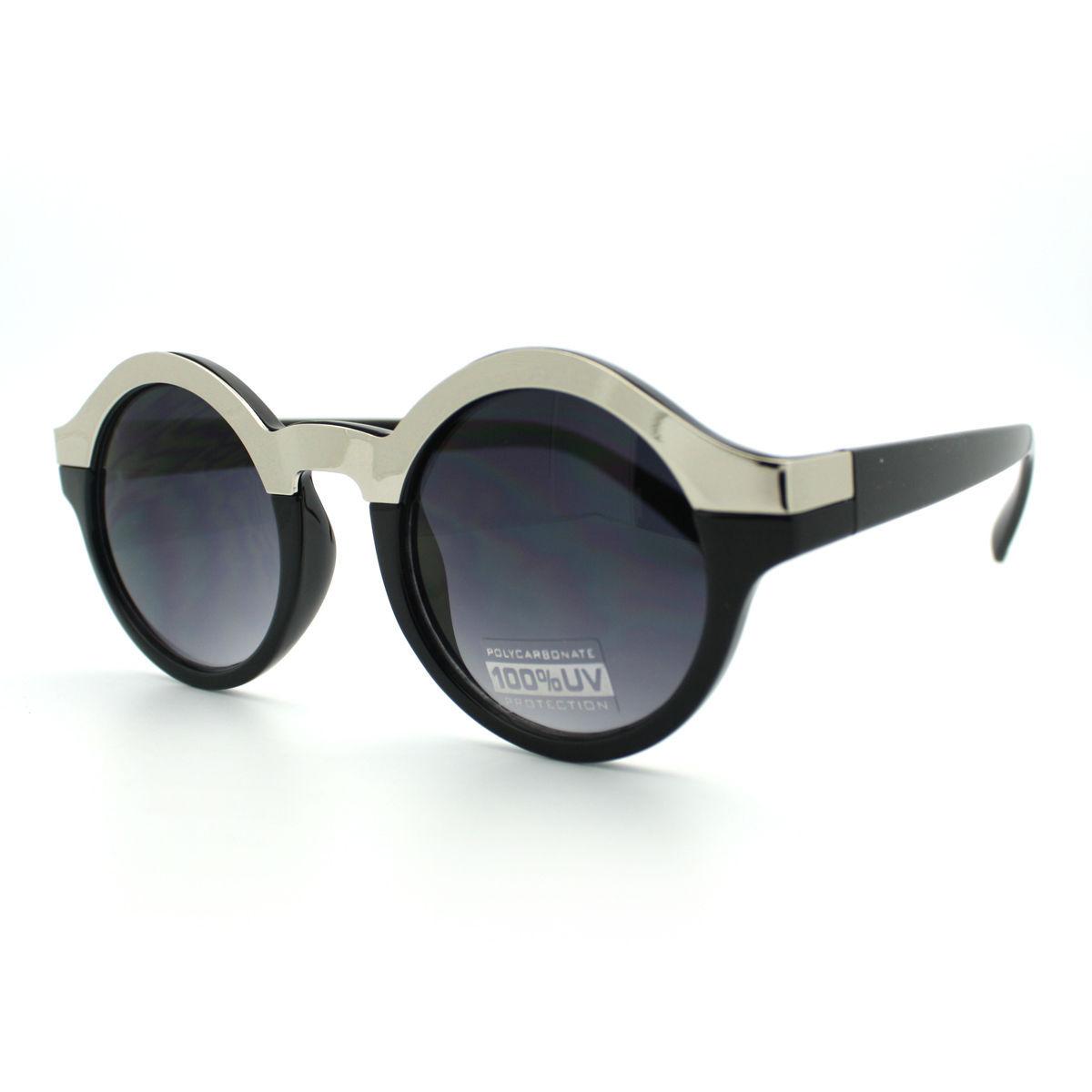 Unique Round Sunglasses Womens Fashion Metallic Top Circle Frame