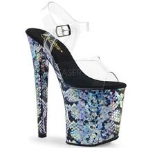 "Pleaser XTREME-808SSP 8"" Heel Snake Print Tall Platform Ankle Strap Womens Shoes - $99.95"