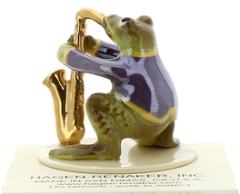 Hagen-Renaker Miniature Ceramic Frog Figurine Toadally Brass Band Saxophone image 3