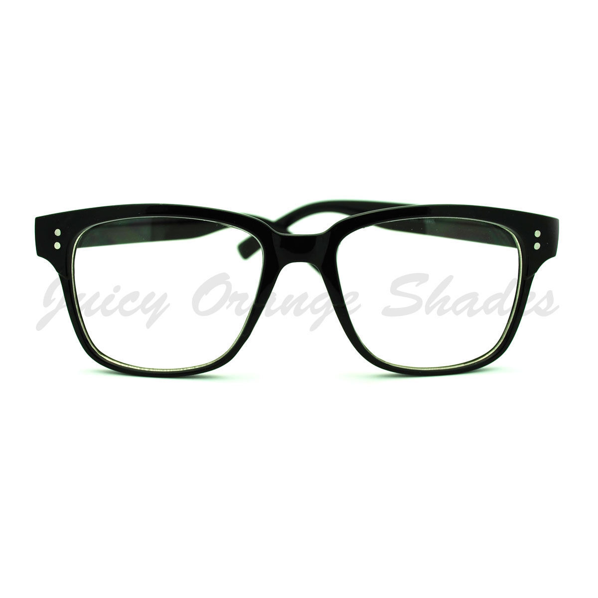 Clear Lens Eyeglasses Square Horn Rimmed Nerdy Fashion Glasses