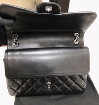 100% Authentic Chanel BLACK QUILTED LAMBSKIN JUMBO CLASSIC DOUBLE FLAP BAG SHW image 7
