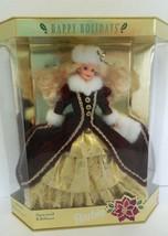 1996 Happy Holidays Barbie Special Edition Doll NIB Maroon Gold White Fur - $19.68