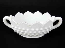 Vintage Fenton Hobnail Milk Glass Oval Nut/Mint Dish, 2 Handled Farm Hou... - $12.69