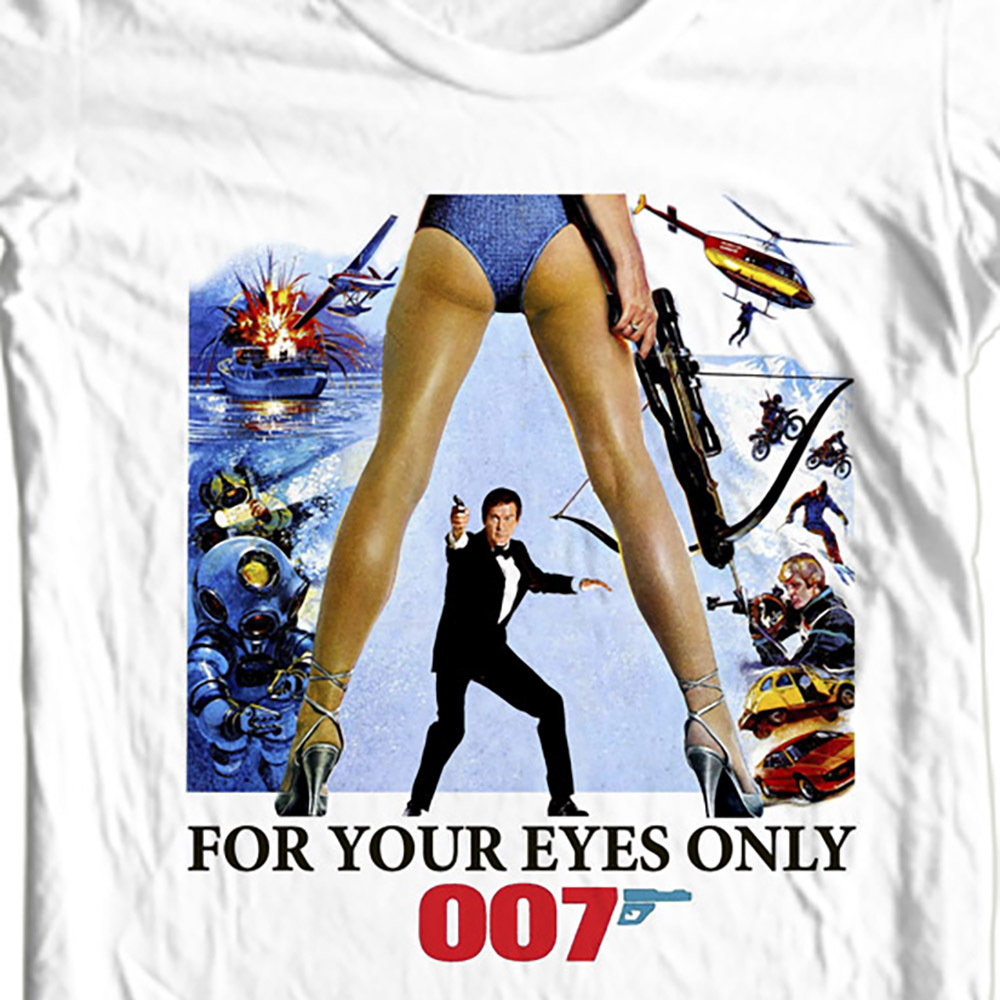 James bond 007 for your eyes only roger morre t shirt white sizes small  through 5 xl white