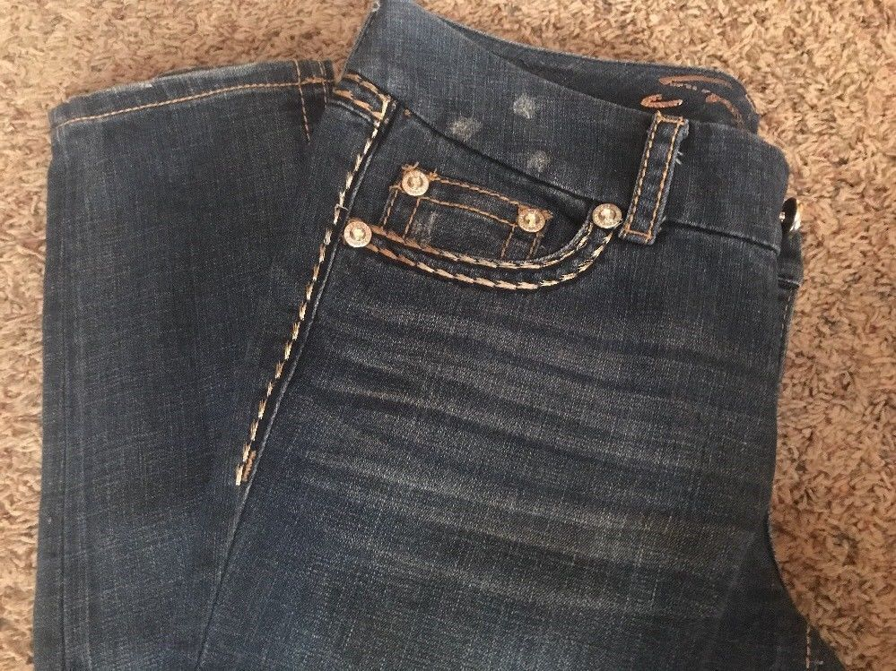 Seven7 Jeans Women's Skinny Slim Size 8 Distressed 33 W 29 L  Dark Blue EUC