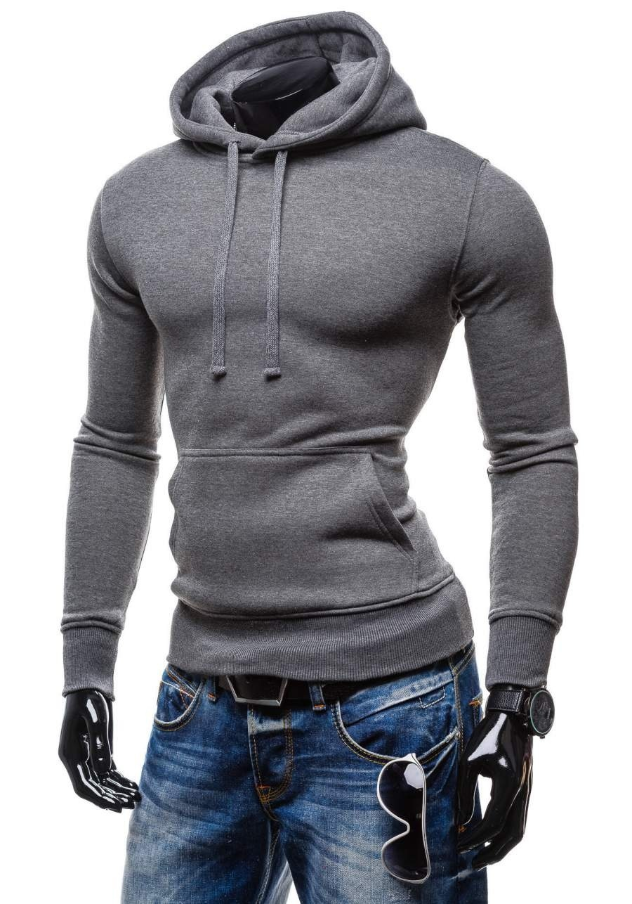 Cotton Men  Sweatshirt with Hat Long Sleeve Pullover Hoodies