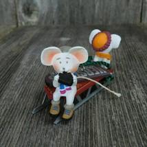 Vintage Hershey's Mouse Sled Ornament Hallmark Chocolate Mice Ski Snow 1996 - $31.67