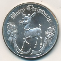 "2000 PEACE ON EARTH/MERRY CHRISTMAS ""RUDOLPH"" 1 OZ .999 SILVER ROUND-SHI... - $29.95"