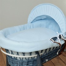 Baby Blue New Moses Basket Bedding Soft touch Cuddlesoft Dimple moses Hooded Dressing Set