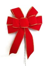 "4 Large 10"" Hand Made Red Gold Velvet Christmas Bows Outdoor Wreath Winter - $21.78"