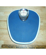 Vintage 1950's KRUPS Bathroom Scale Blue & Chrome with Bubble Glass Germany - $98.99