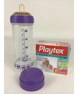 Playtex Baby Bottle Purple Trains 8 oz Complete Nipple Cap Liners Vintag... - $49.45