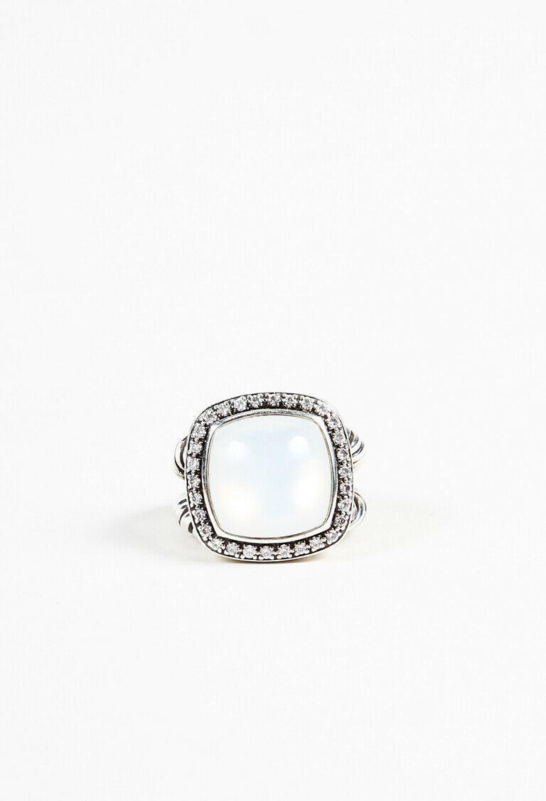 "David Yurman Sterling Silver Mother of Pearl ""Albion Diamond "" Ring SZ 6"
