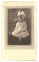 Antique Sepia Photograph Girl Pretty Cotton Dress White Bow Lovely Studi... - $14.99