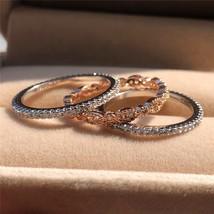 3pcs Simple Female Bridal Ring Set Luxury Rose Gold 925 Silver Ring Vint... - $13.71