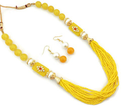 Indian Bollywood Gold Plated Yellow Beads Kundan Necklace Earrings Jewelry Set - $14.24