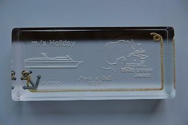 Original Glas Briefbeschwerer,M/S Kreuzschiff Holiday1990 Port Of Call ,... - $17.75