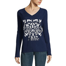 Nwt St. John's Bay Ls Believe Christmas Top Size Large - $14.10