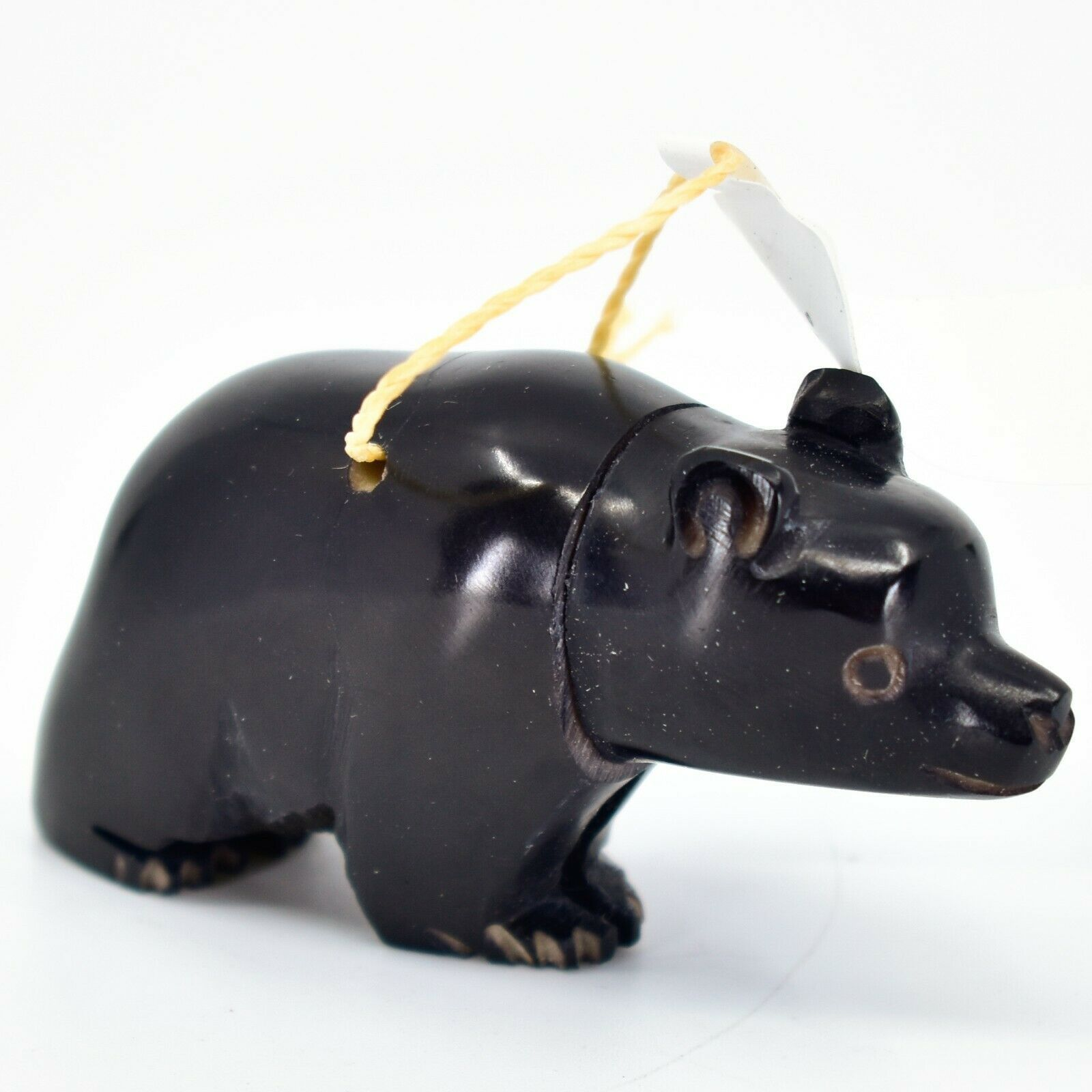 Hand Carved Tagua Nut Carving Black Bear Hanging Ornament Handmade in Ecuador