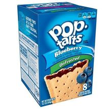 2 Kellogg's Pop-Tarts Breakfast Toaster Pastries Unfrosted Blueberry 8 x 14.7 oz - $14.40
