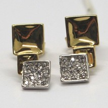 Drop Earrings White Gold Yellow 18K, Three Squares with Zircon Cubic image 1