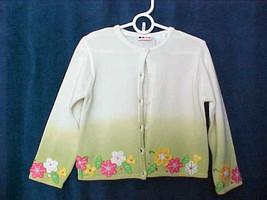 Girls GYMBOREE Cardigan Sweater Sz L 5 Yrs White & Spring Green Field of Flowers - $14.24