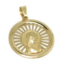 Pendentif Médaille, or Jaune 750 18k, Vierge Marie en Prière, Rayons, Rondes image 1