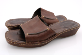Timberland Womens 8M Brown Leather Smart Slip On Comfort Slide Sandals - $25.99