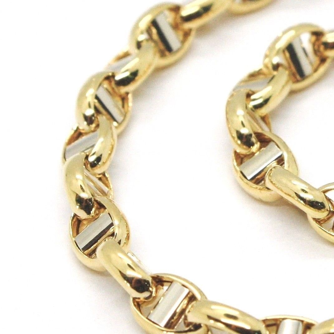 18K YELLOW WHITE GOLD 4 MM OVAL NAVY MARINER BRACELET 8.30 INC. 21 CM ITALY MADE