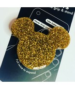 Gold Mickey On Black Popsockets Phone Holder Grip Stand. Gold Glitter Mouse - $36.36