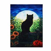 28''x40'' Harvest Moon Cat Autumn House Flag Fall Halloween Black Kitten... - £7.61 GBP