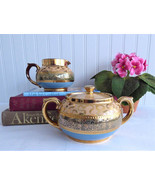 Gibsons England Art Deco Cream And Sugar 1930-1940s Blue Gold Pottery Te... - $48.00