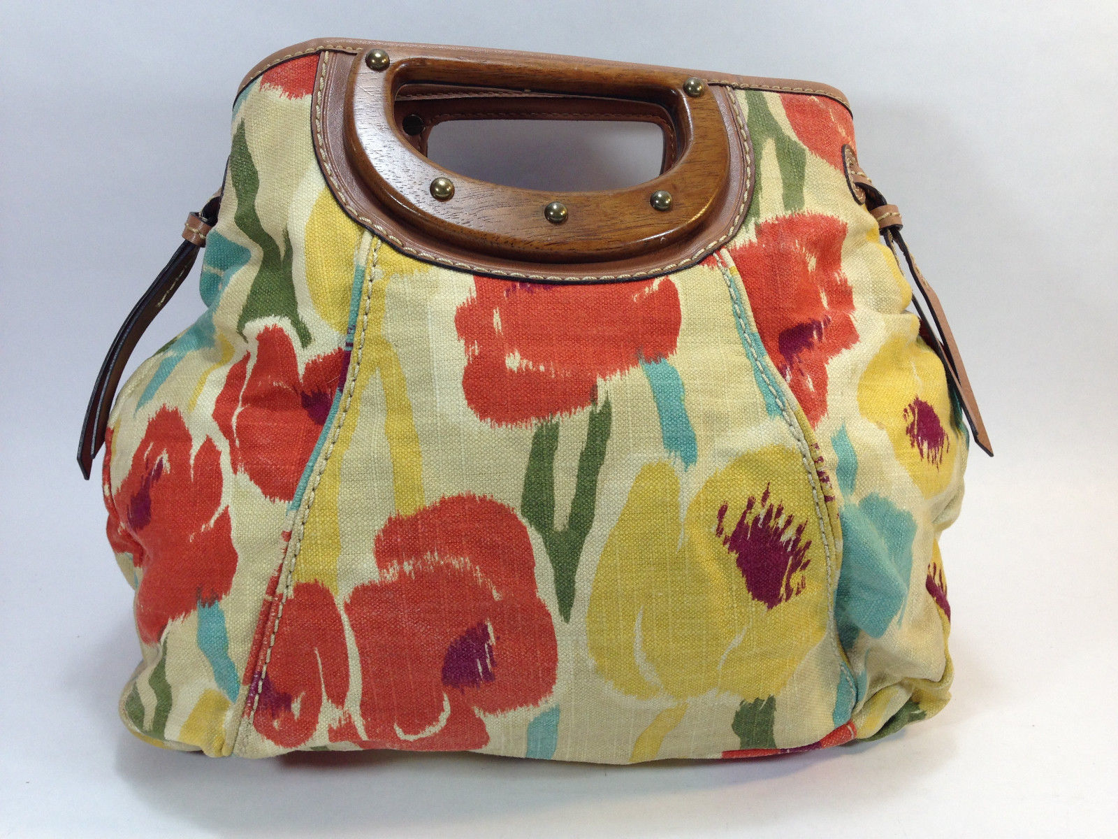 lovely FOSSIL yellow rust blue canvas wood handle large clutch messenger