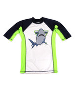 THE CHILDRENS PLACE Shark Swim Sun Shirt Lime Green White Navy 10 12 - $9.89
