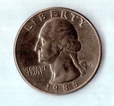 1986 D Washington Quarter - Circulated - Moderate Wear - $1.25