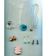 jewelry lot glass gemstone necklaces earrings bead drops 7 piece wholesale - $4.99