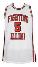 Deron Williams Fighting Illinois Custom College Basketball Jersey Sewn White Any image 1