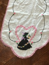 Vintage Hand Embroidered Table Dresser Runner Tablecloth, Crocheted -Emb... - $29.09
