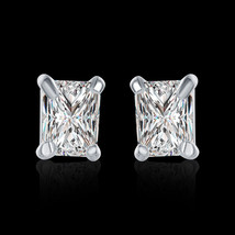 14K White Gold Stud Earrings Made with Swarovski Elements - $9.79