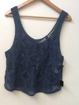 Forever 21 Blue Crochet Crop Tank Top New NWT L Large - $9.95