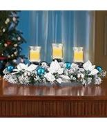 Poinsettia Frosted Evergreen Candle Centerpiece - $32.41