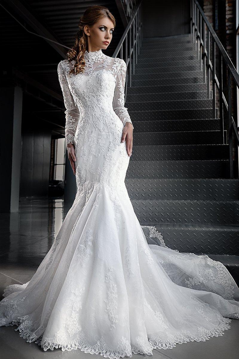 High Neck Mermaid Lace Wedding Dress with Jacket and Long Sleeves at Bling Bride