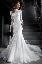 High Neck Mermaid Lace Wedding Dress with Jacket and Long Sleeves at Bling Bride image 3