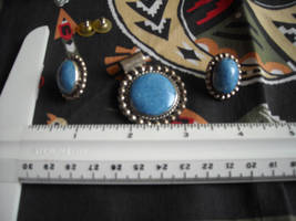 Handcrafted Sterling Silver Pendant & Post Earrings With Blue Stone Mexico TJ 86 image 4