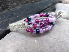 Beaded Bracelet - Hemp Bracelet - Macrame Bracelet - Pink Bracelet - Boh... - $16.00