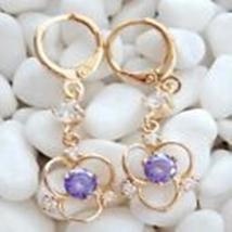 Gold 18K GF Purple Crystal Woman Party Pendant Earring B498 - $12.00