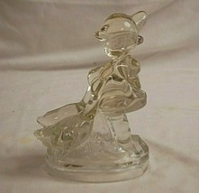 Old Vintage L.E. Smith Clear Art Glass Hummel Style Girl w Geese Figurine - $49.49