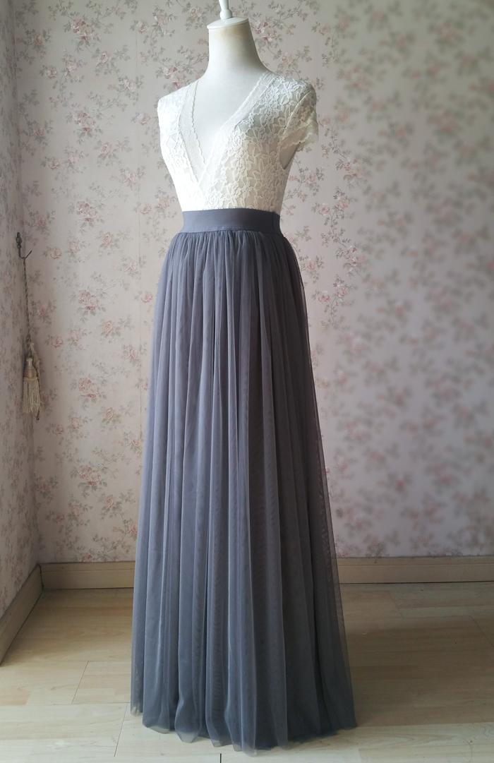 Gray maxi skirt tulle 01