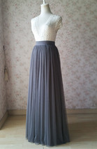 GRAY Tulle Skirt Outfit High Waisted Gray Tulle Maxi Skirt Plus Size Maxi Skirt image 3